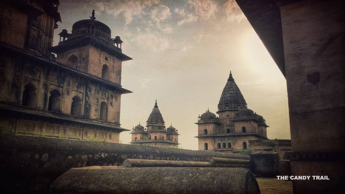 orchha tombs at dusk india