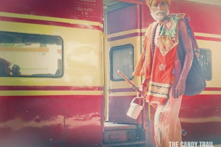 sadhu pilgrim traveling train india