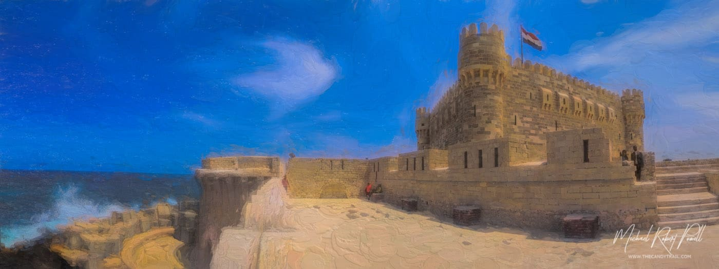 ocean-against-the-citadel-of-qaitbay-egypt-by-michael-robert-powell
