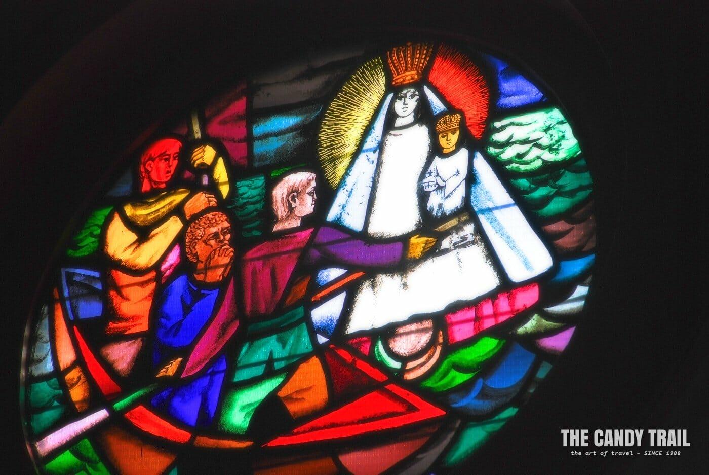 stained glass window black virgin el cobre cuba