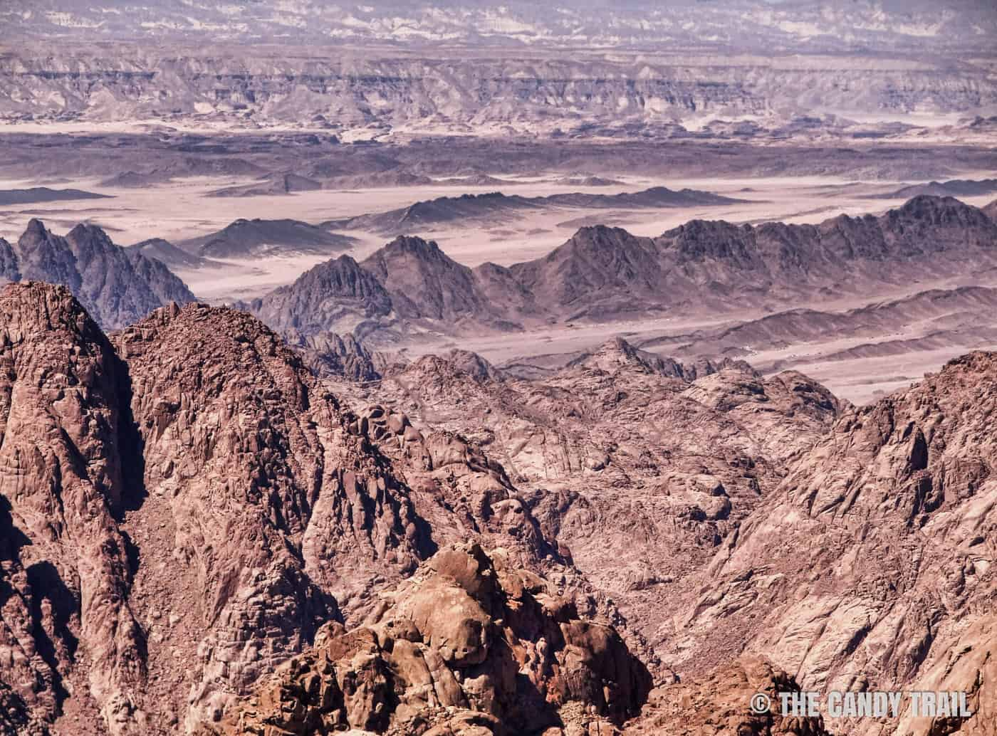 desert-mountain ranges from top of mount sinai in egypt