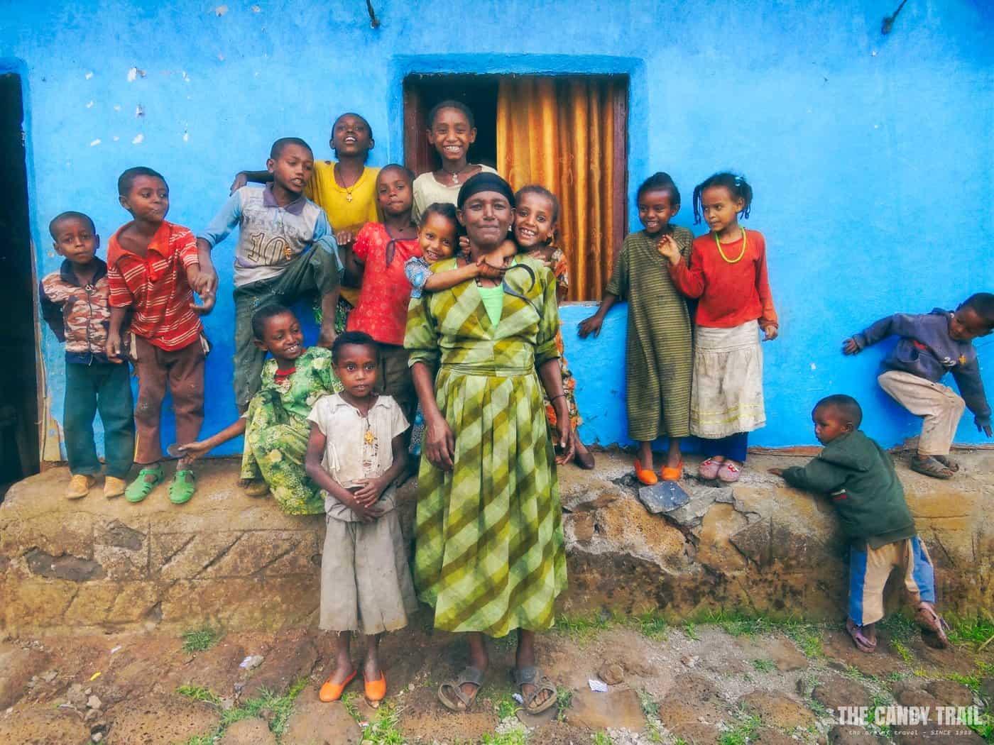 kids in kozula boat across lake tana trip ethiopia