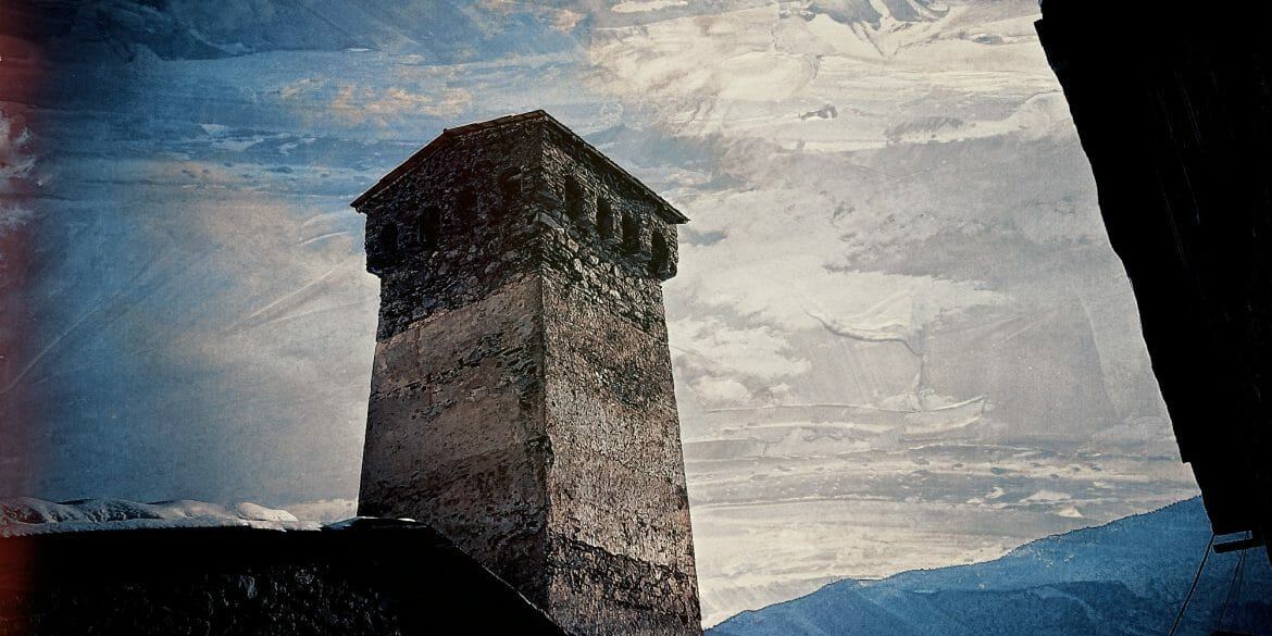 ancient-stone-tower-against sky-mestia-georgia