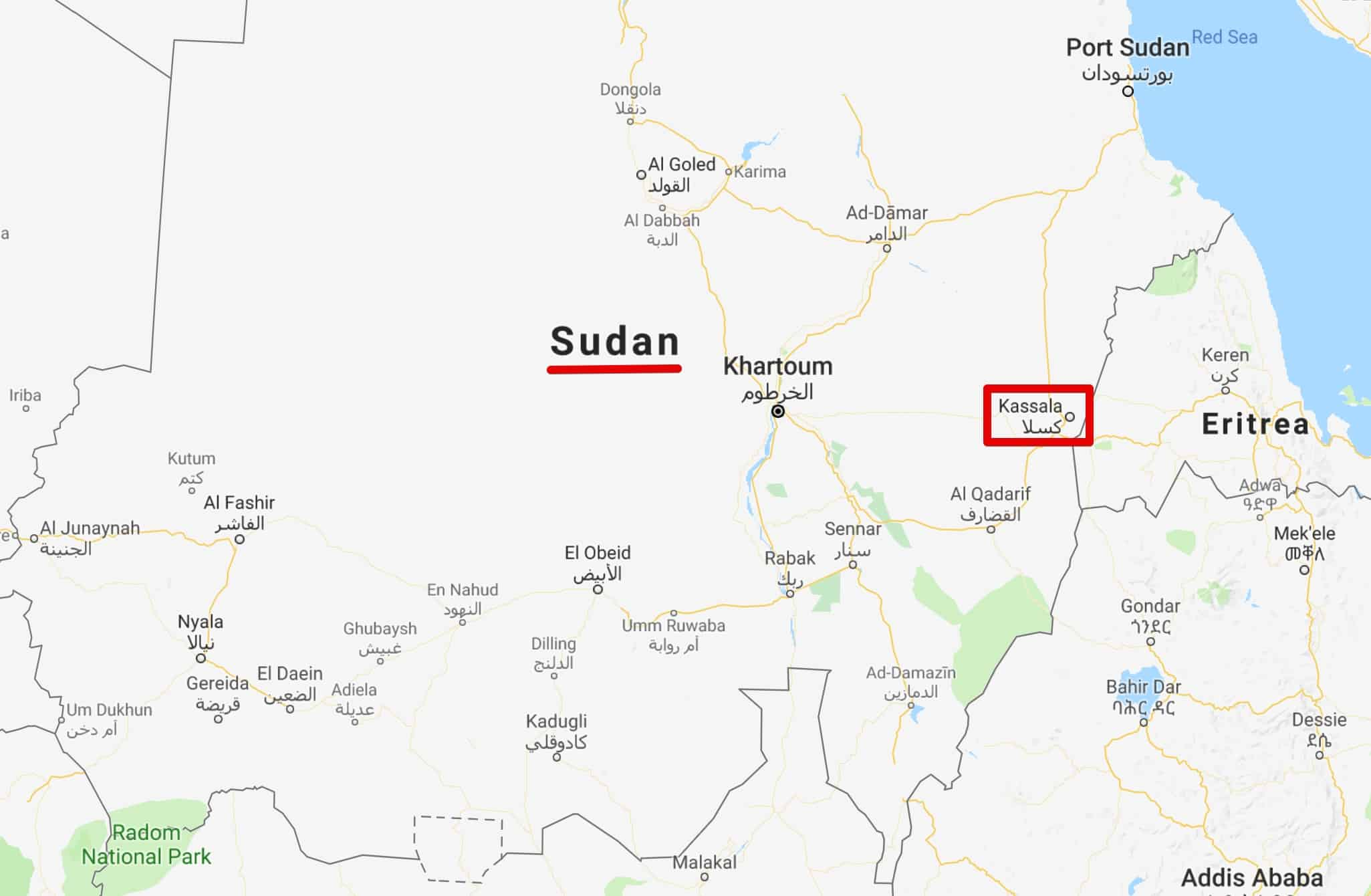 Sudan Kassala map