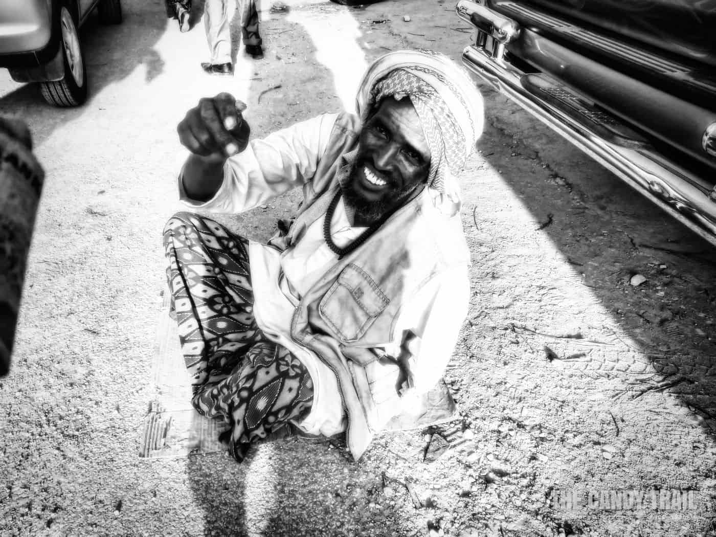 beggar in streets of hargeisa, somaliland.