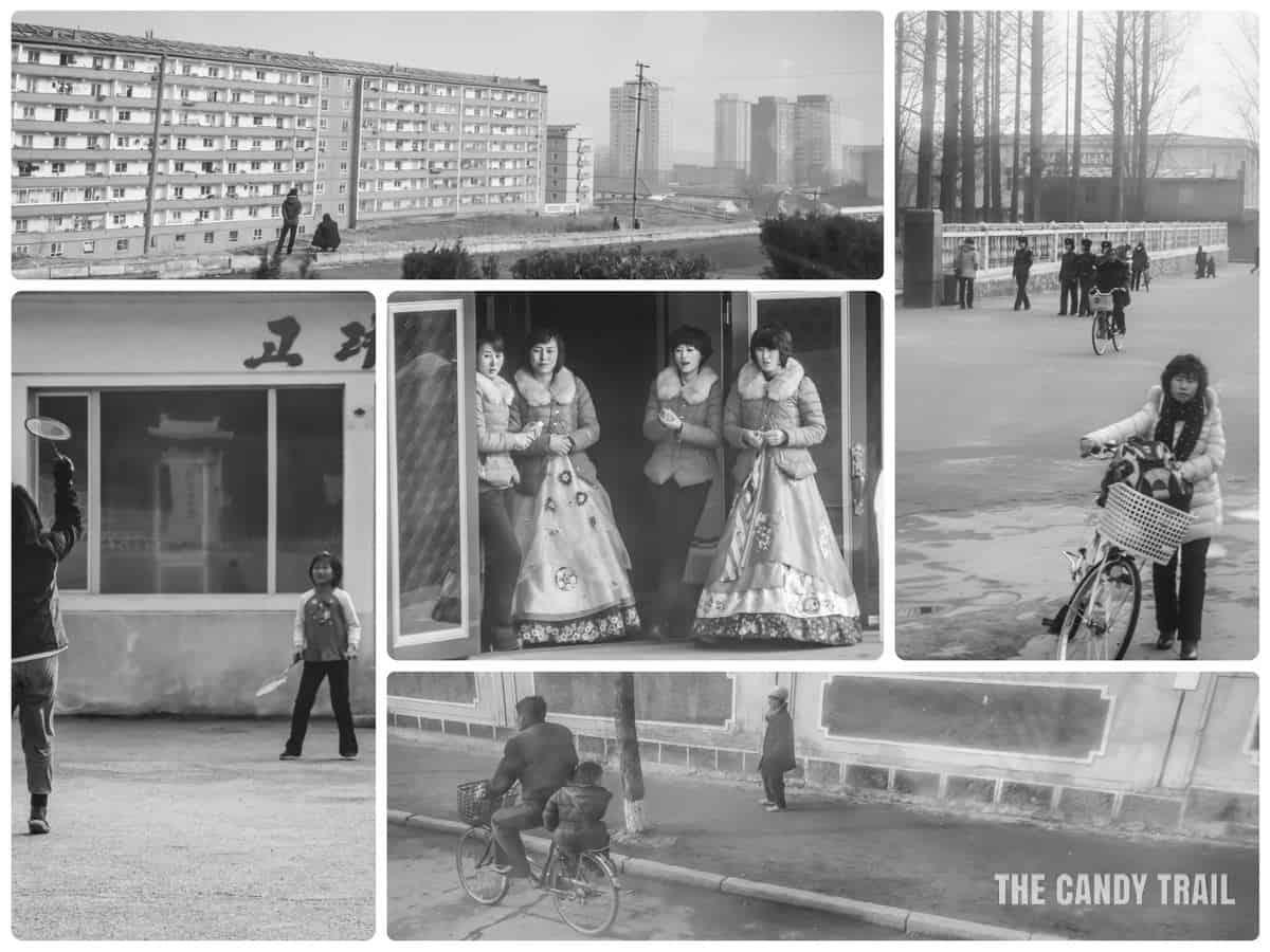 Street scenes from Kaesong City in North Korea in winter.