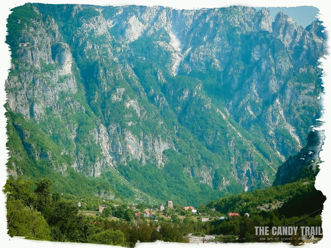 theth village below high mountains albania