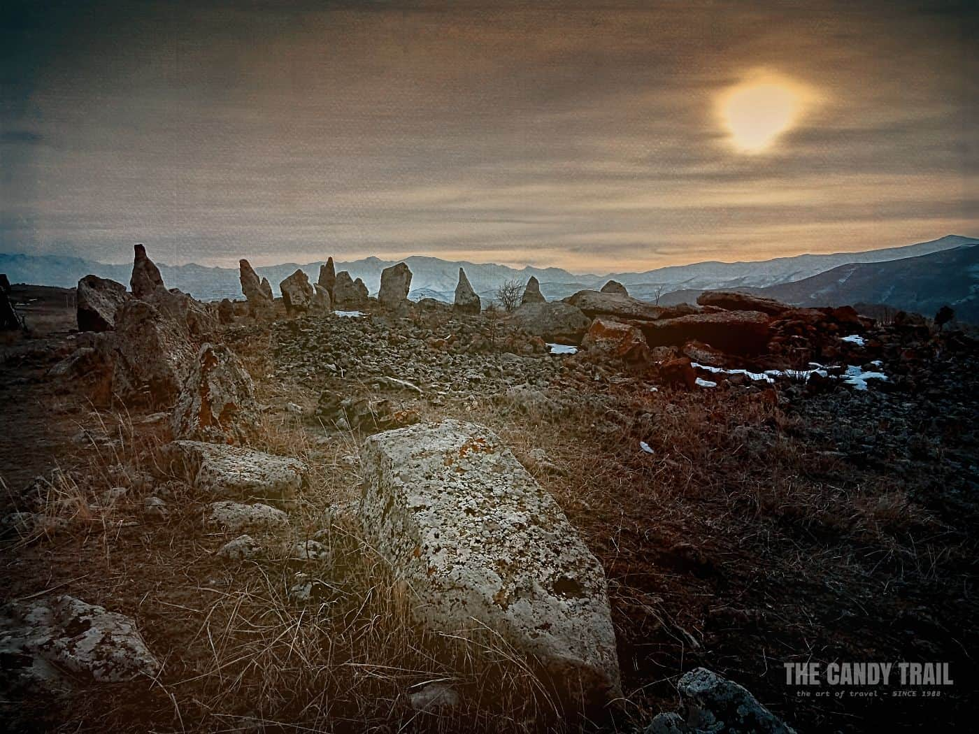 Sunset Zorats Karer Stone Circle Armenia