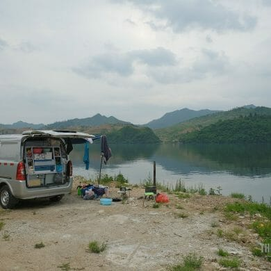 Van Camping On Island Yalu River China North Korea Border