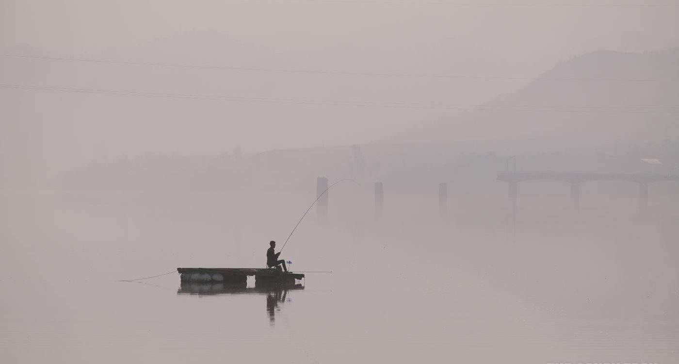 Yalu River Fishing On Chinese Side Looking To Blown Up Japanese Ww2 Bridge Over To Dprk