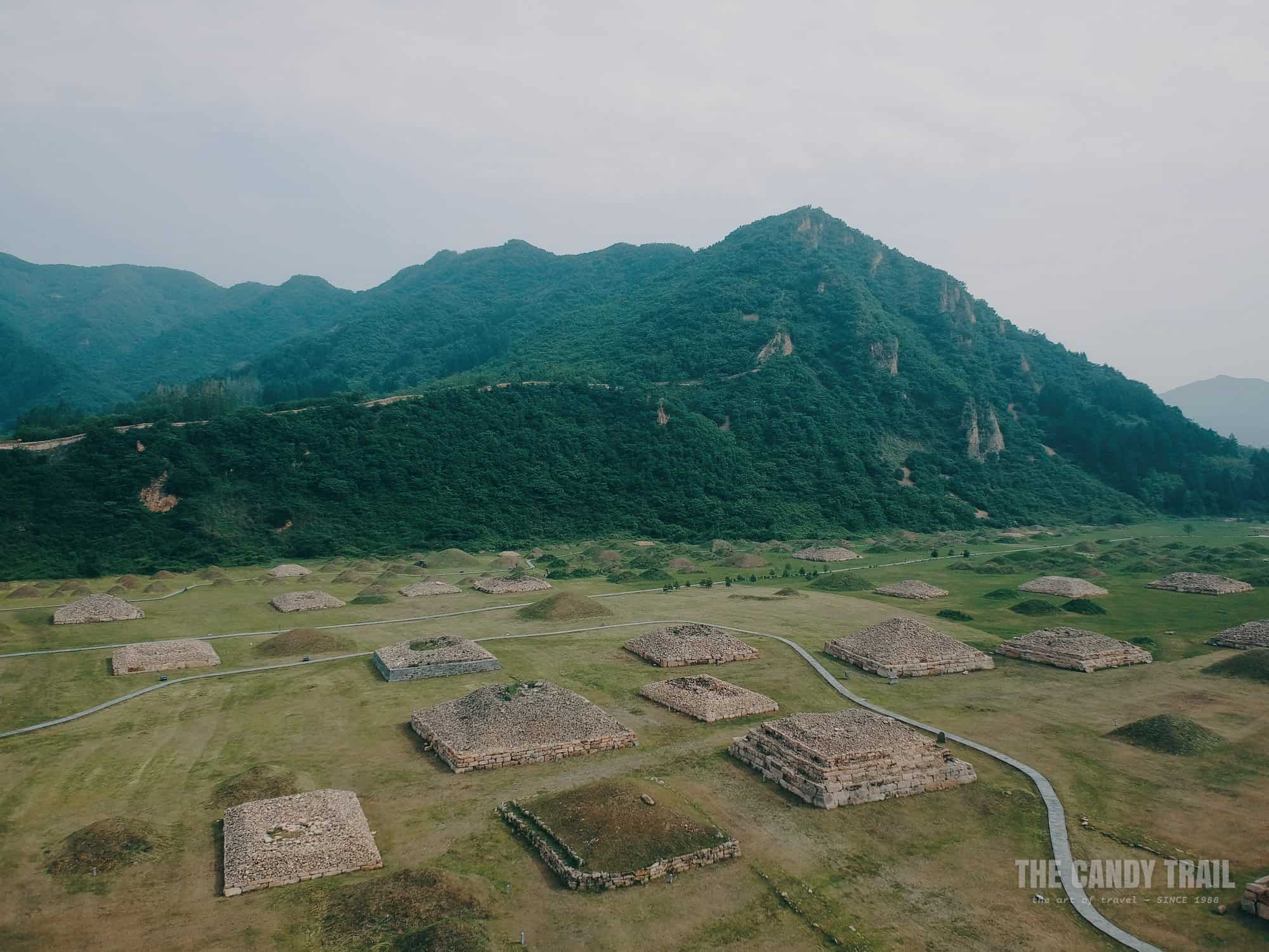 Aerial Shot Tombs Wandu Mountain City China 1