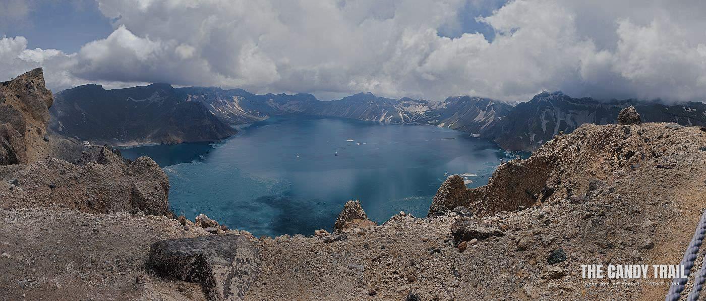 Changbaishan mountain volcano lake panorama