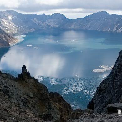 Icy Chang Bai Volcano Lake China