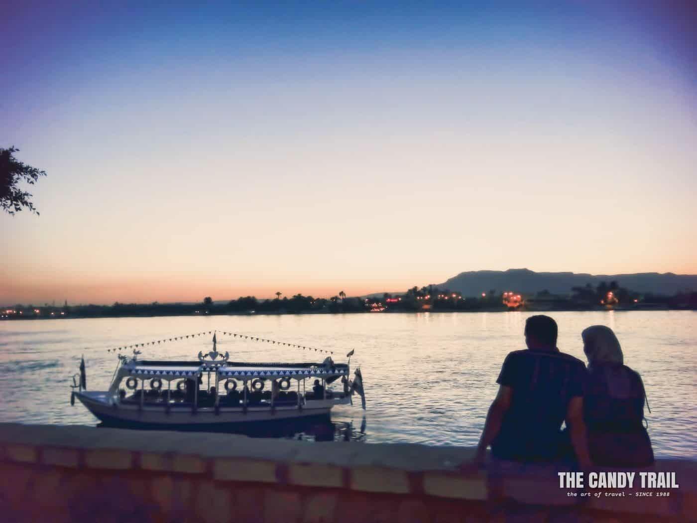 Lovers On Nile River At Sunset Luxor Egypt