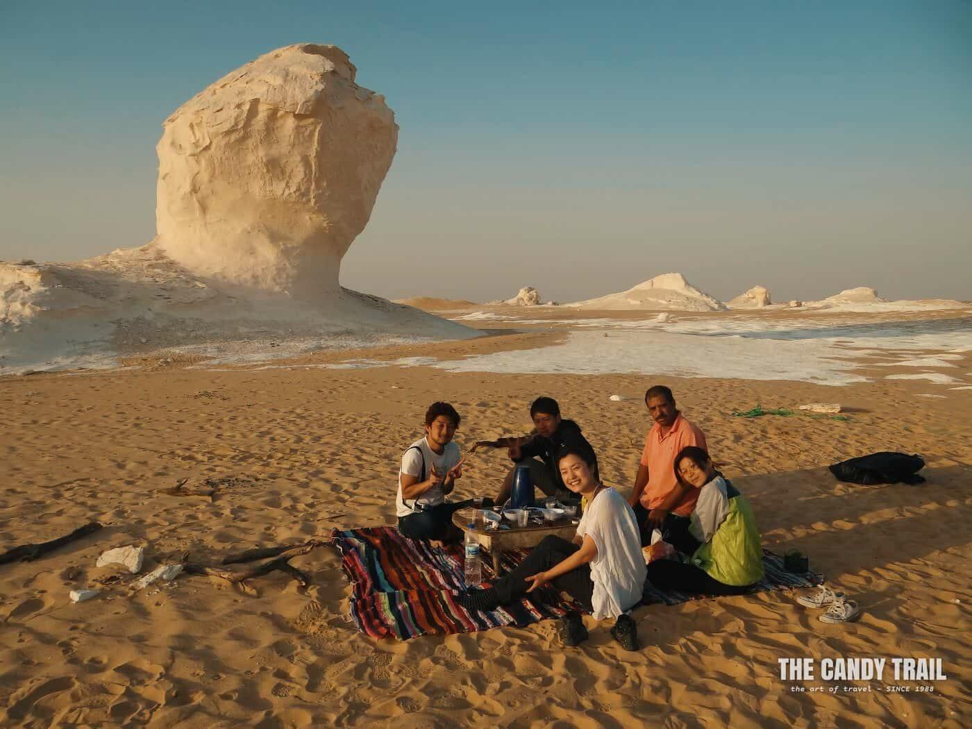 backpackers in white desert egypt