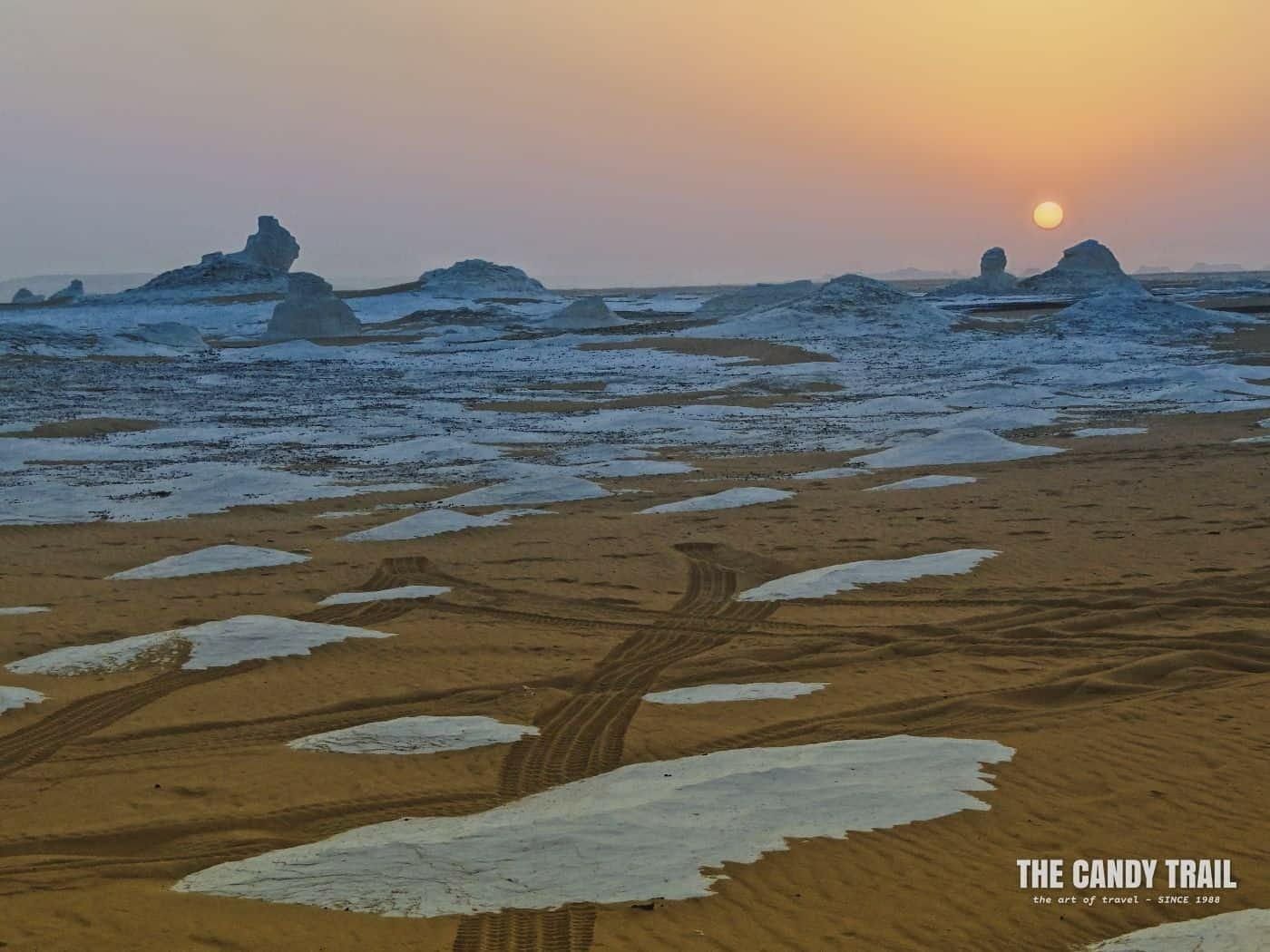 sunset over white desert egypt