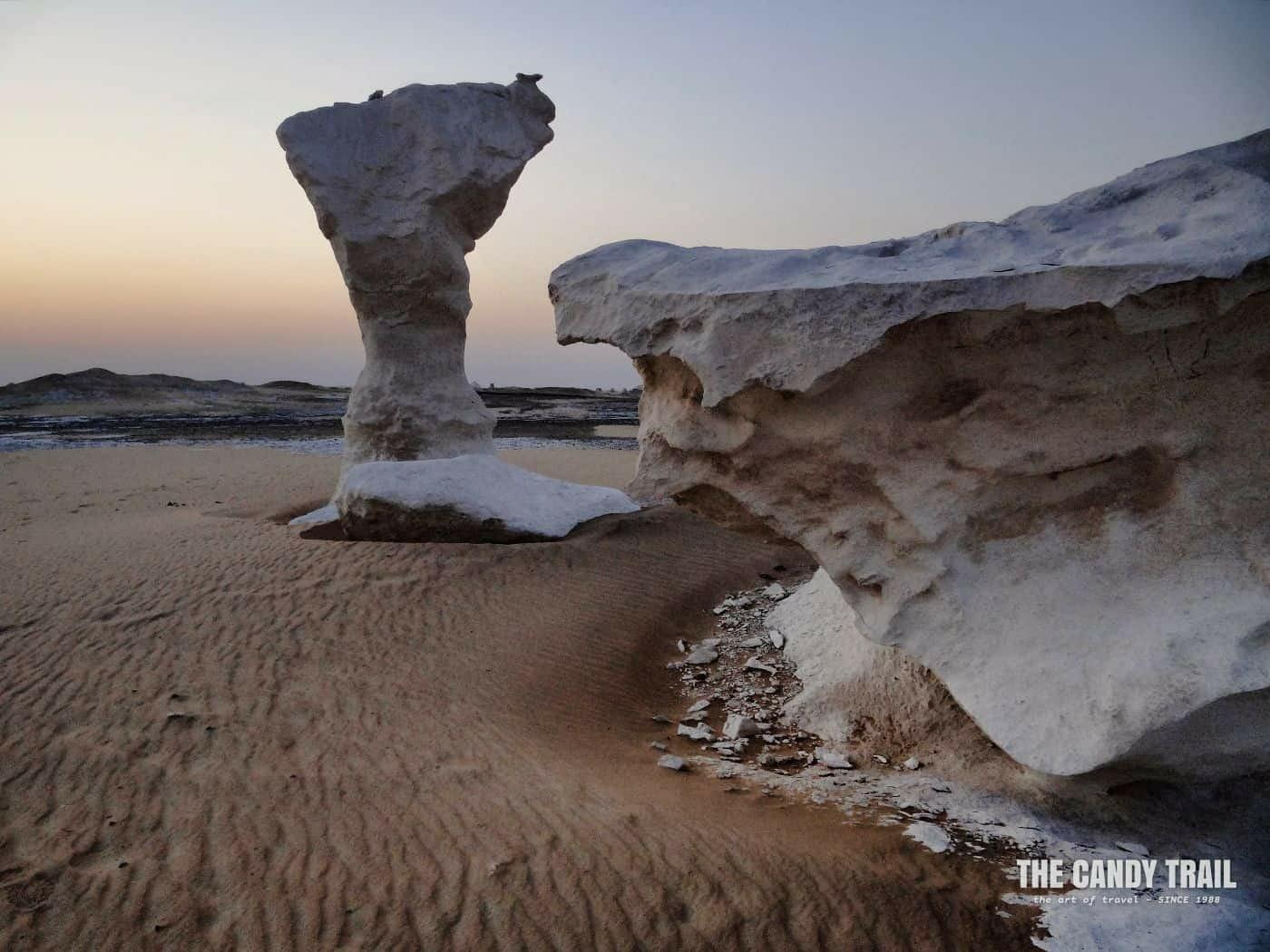 Dawn and awaiting the sunrise white desert