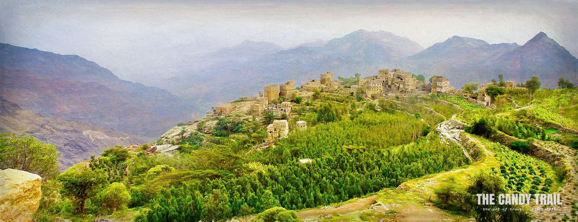 haraz mountain village panorama yemen