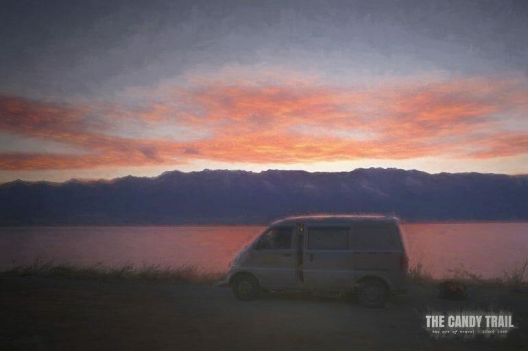 sunset van camping lake erhai yunnan china
