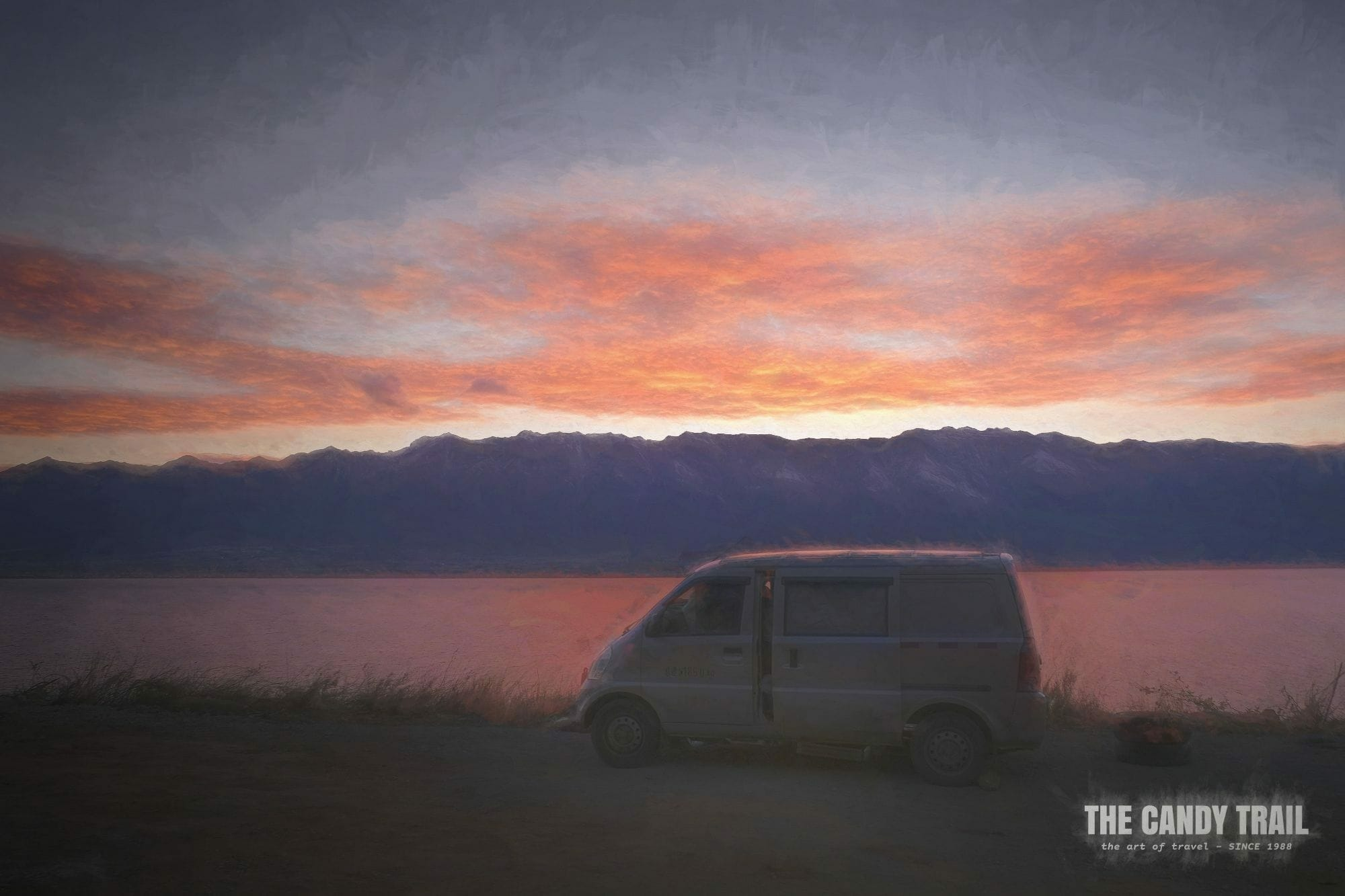sunset van camping lake erhai yunnan china