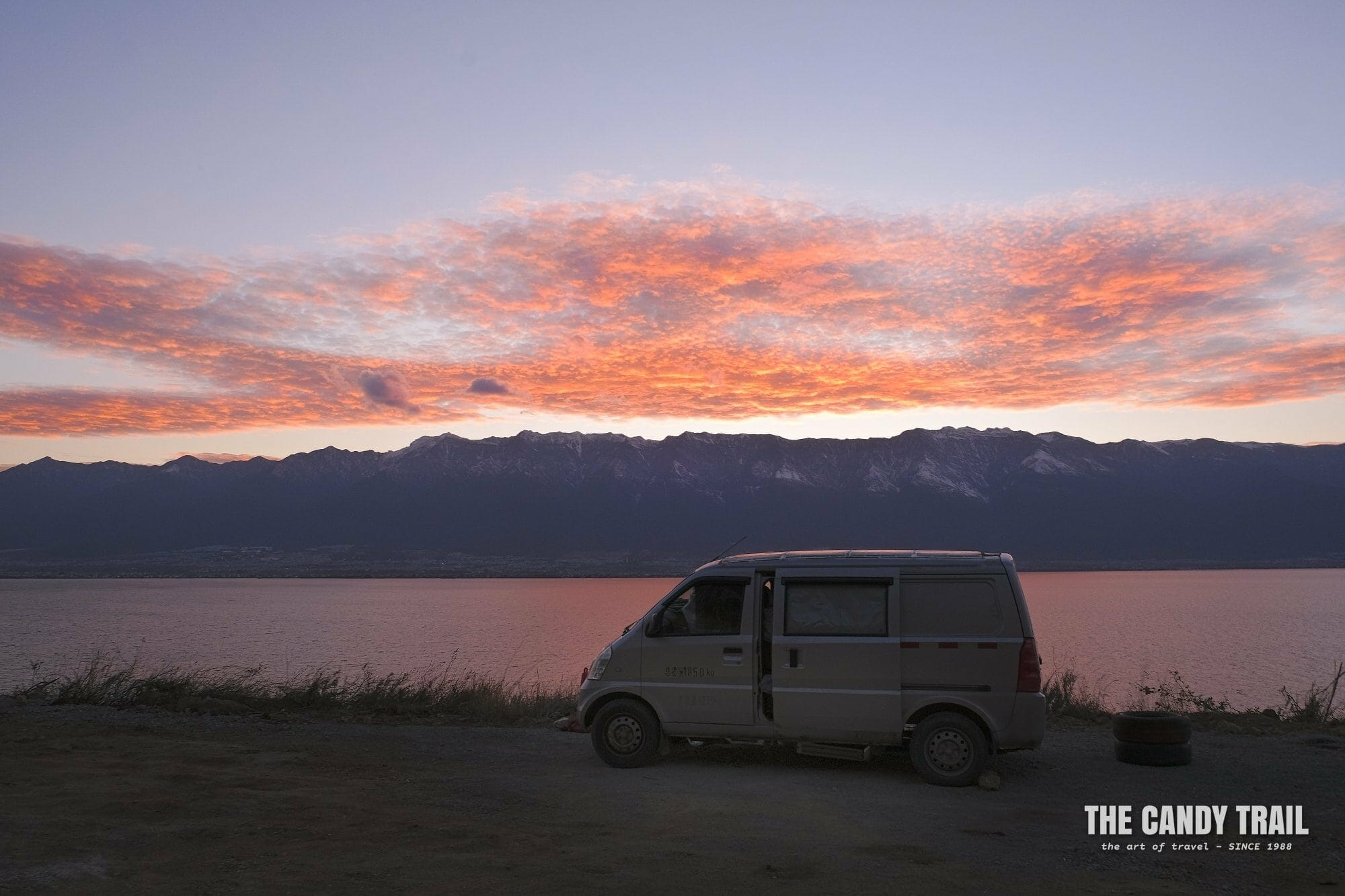 sunset van camping at lake erhai yunnan china