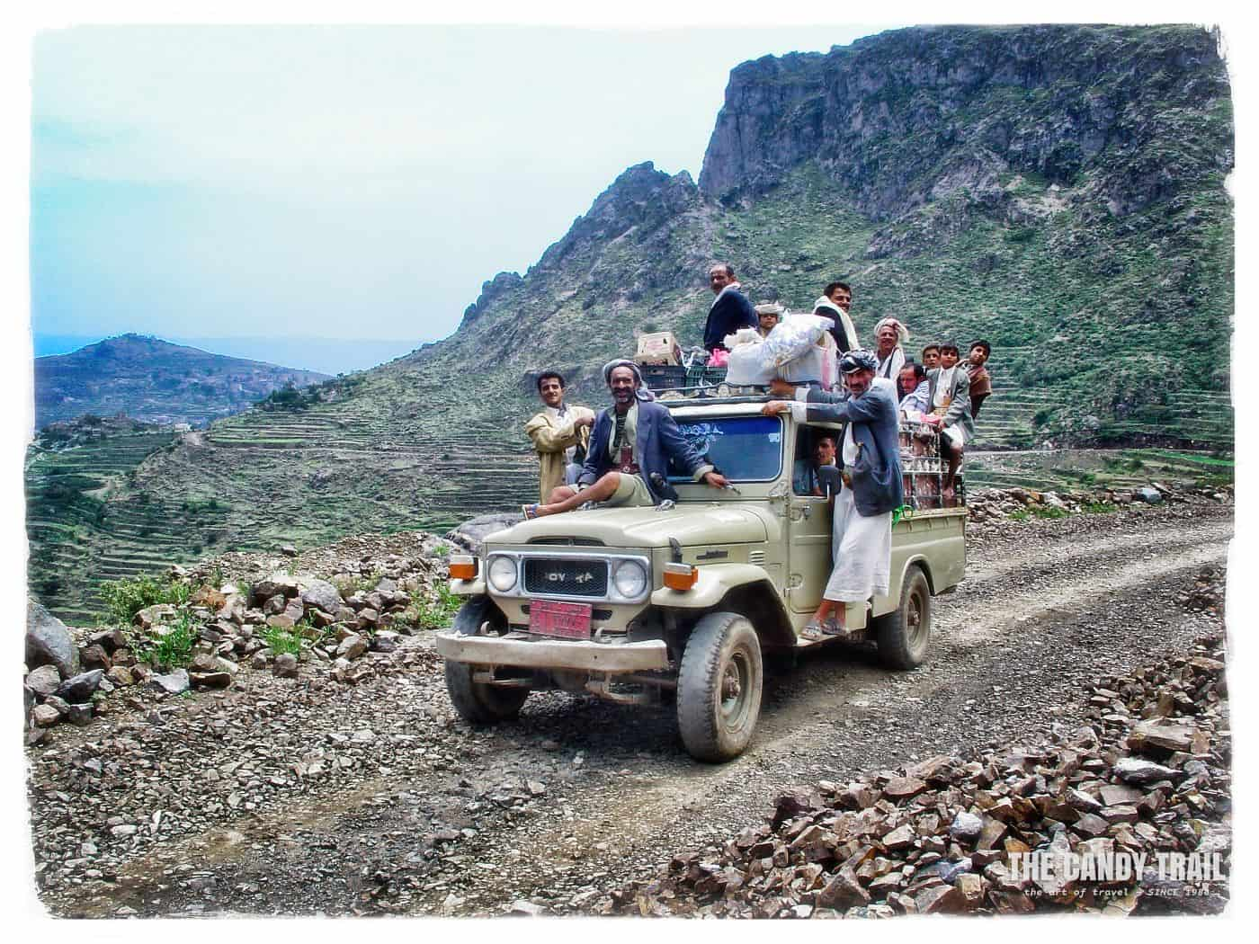 Transport on route from Manakhah market day, Yemen