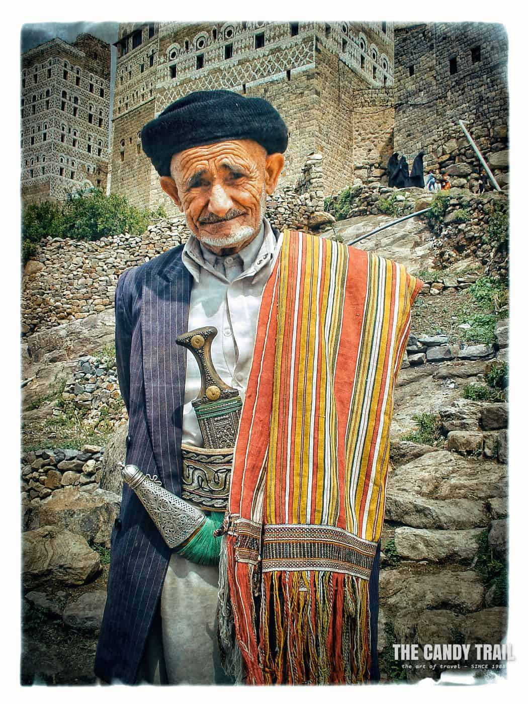 Old man in traditional clothes at Harjjarah village in Haraz Mountains, Yemen