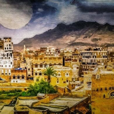 full moon rising sanaa yemen art panorama by Michael Robert Powell