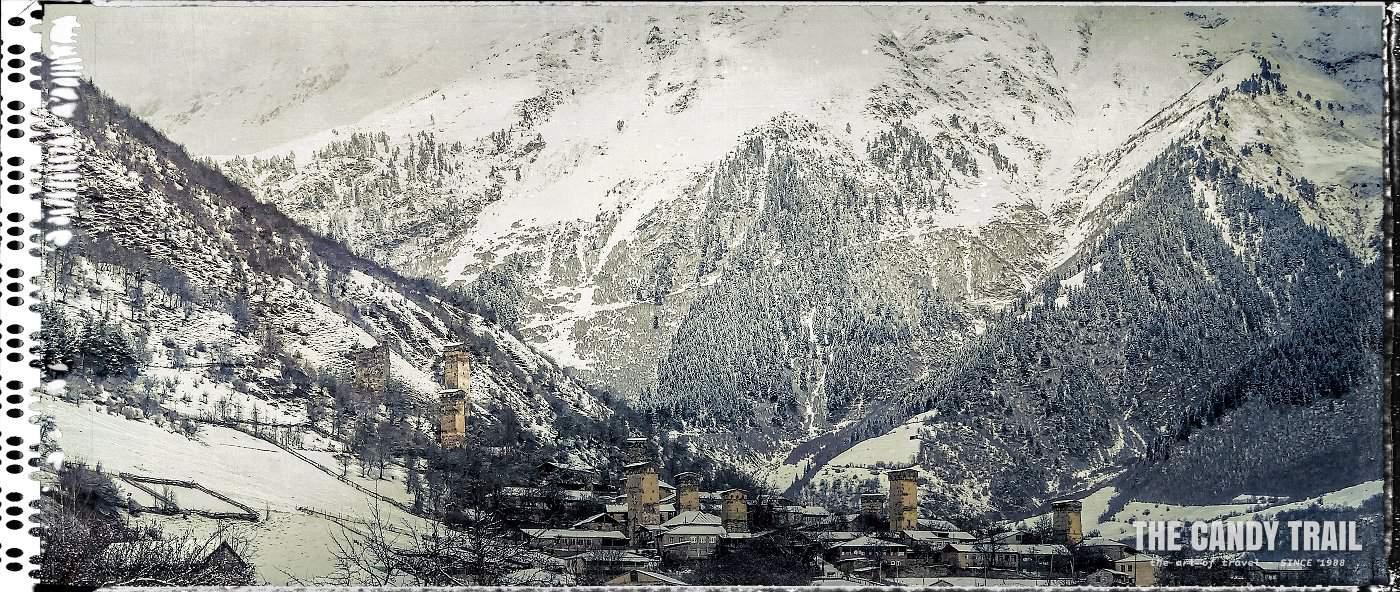 mestia ancient towers valley panorama georgia
