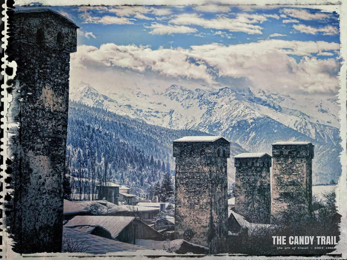 snow mountains and mestia stone towers georgia
