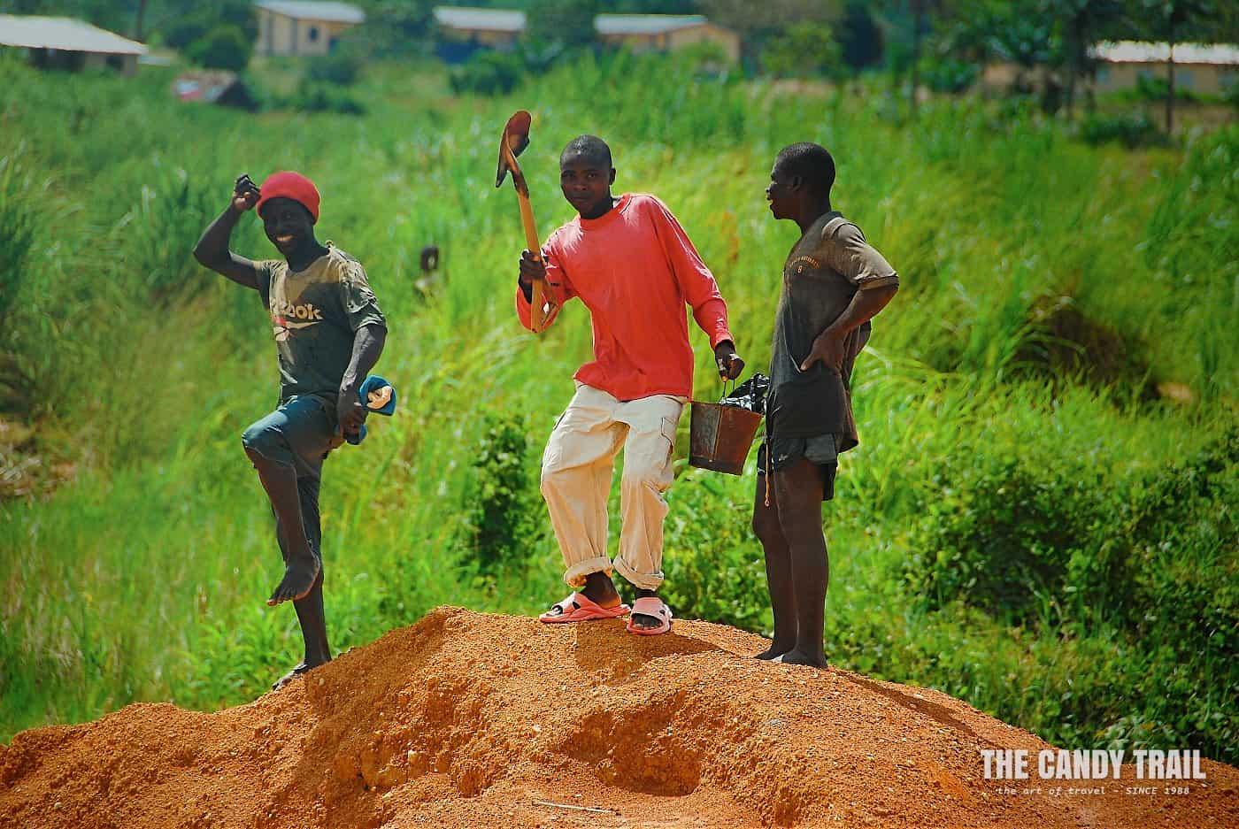diamond miners pose kno sierra leone