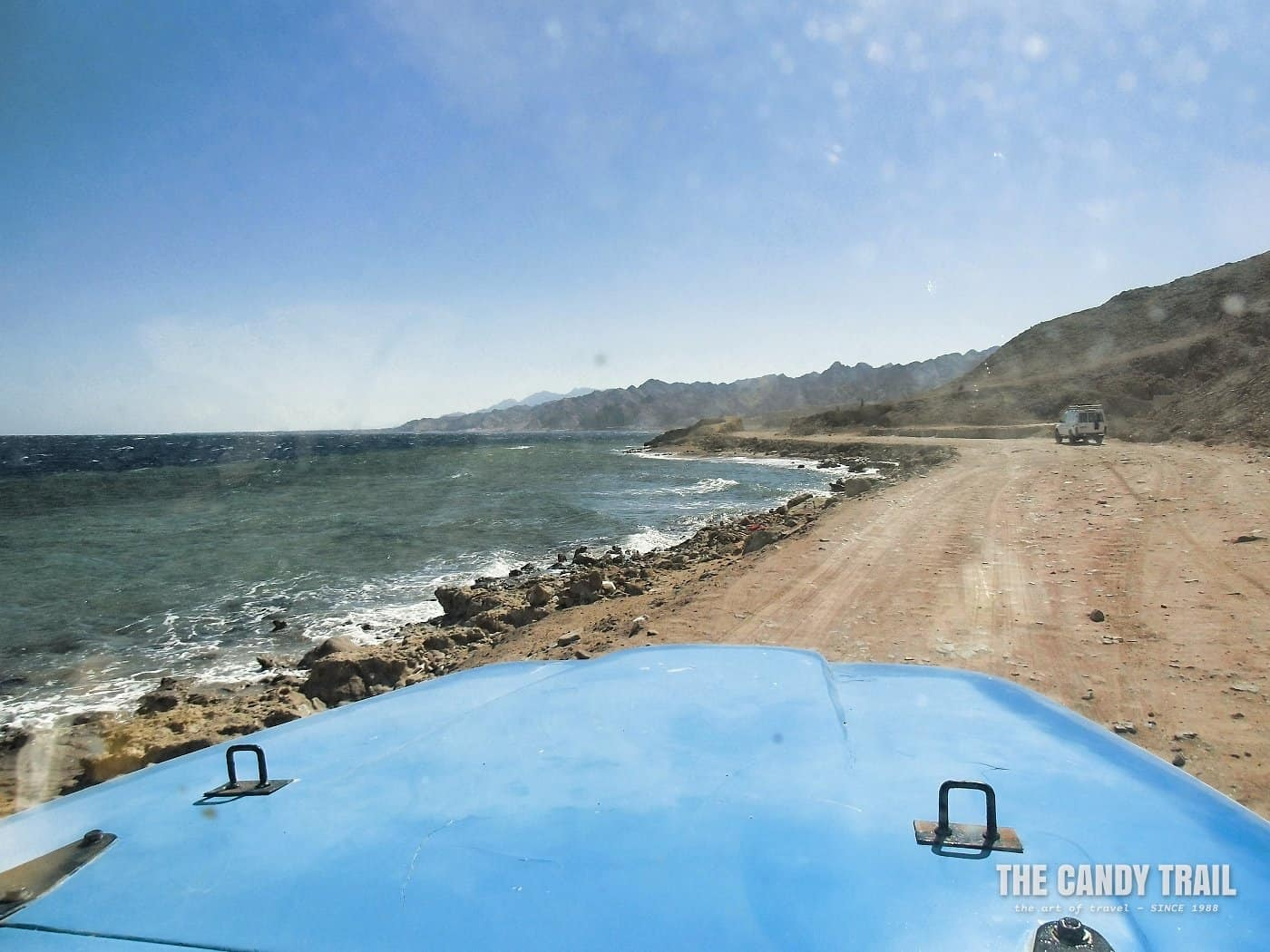 driving to blue hole dahab sinai egypt