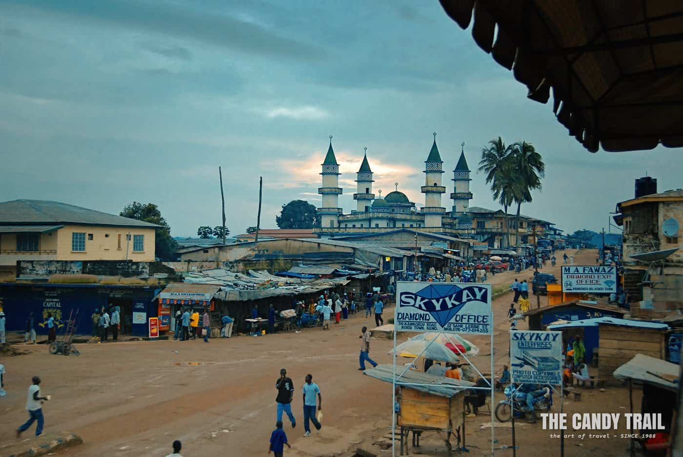 mainstreet of Kono and mosque at dusk sierra leone