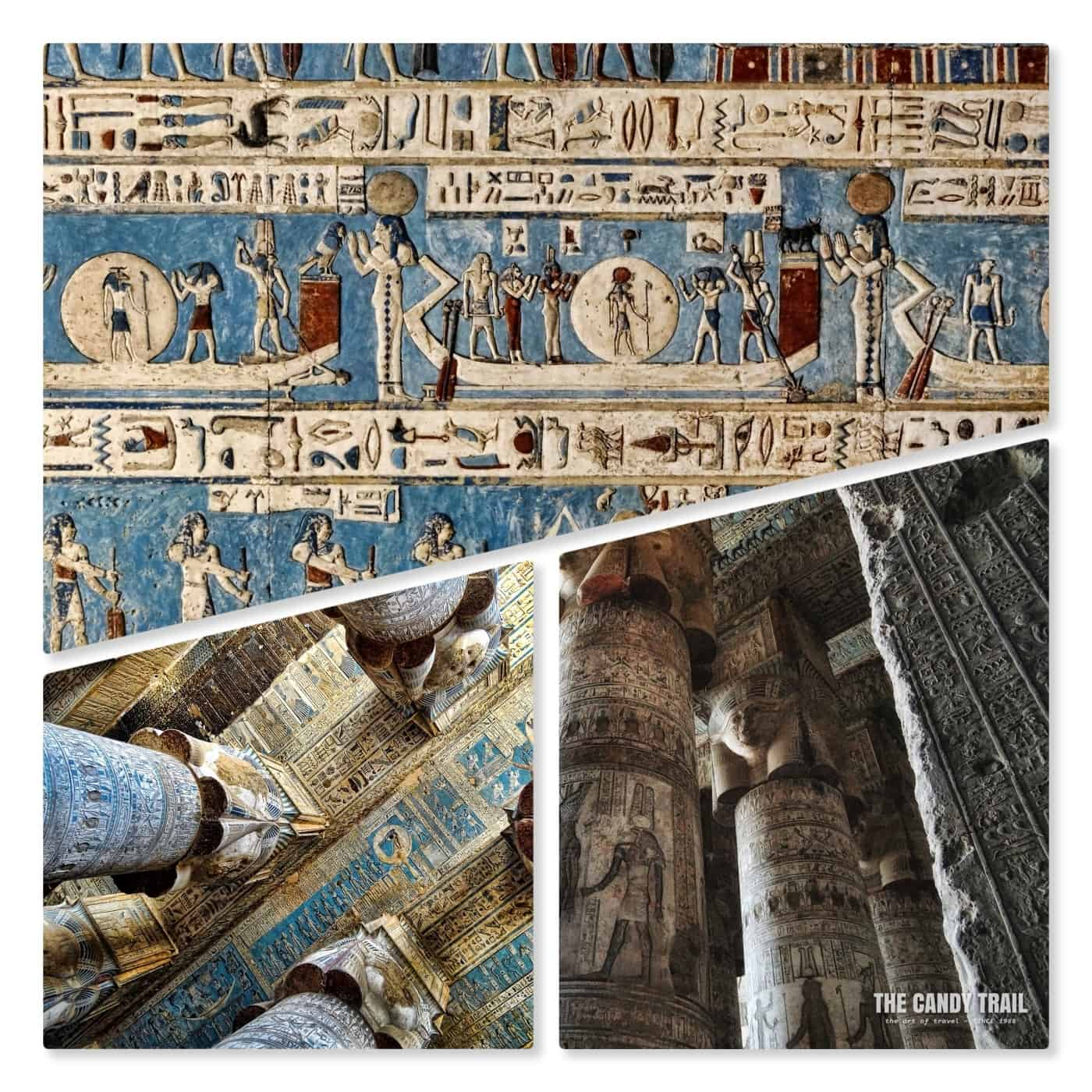 pillar painted interior hathor dendara temple egypt