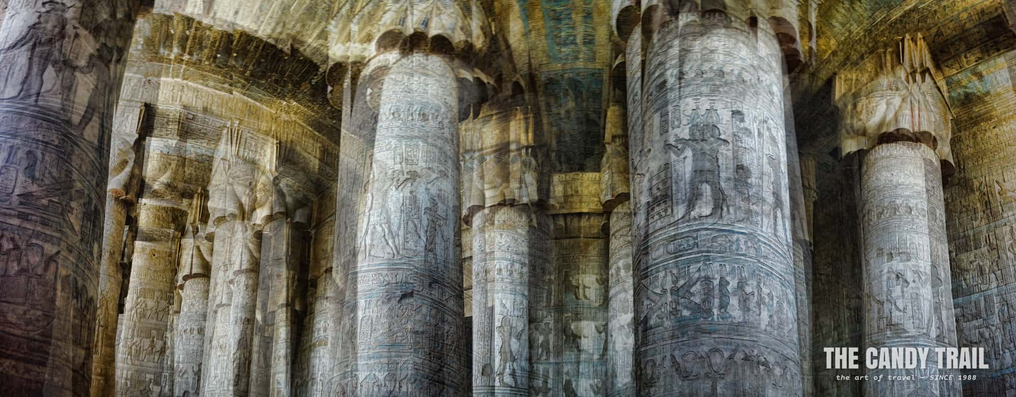 stone pillars whirling dendara hathor temple egypt