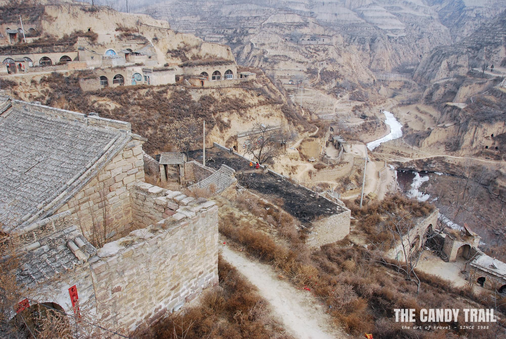 cave houses of lijiashan in china in winter