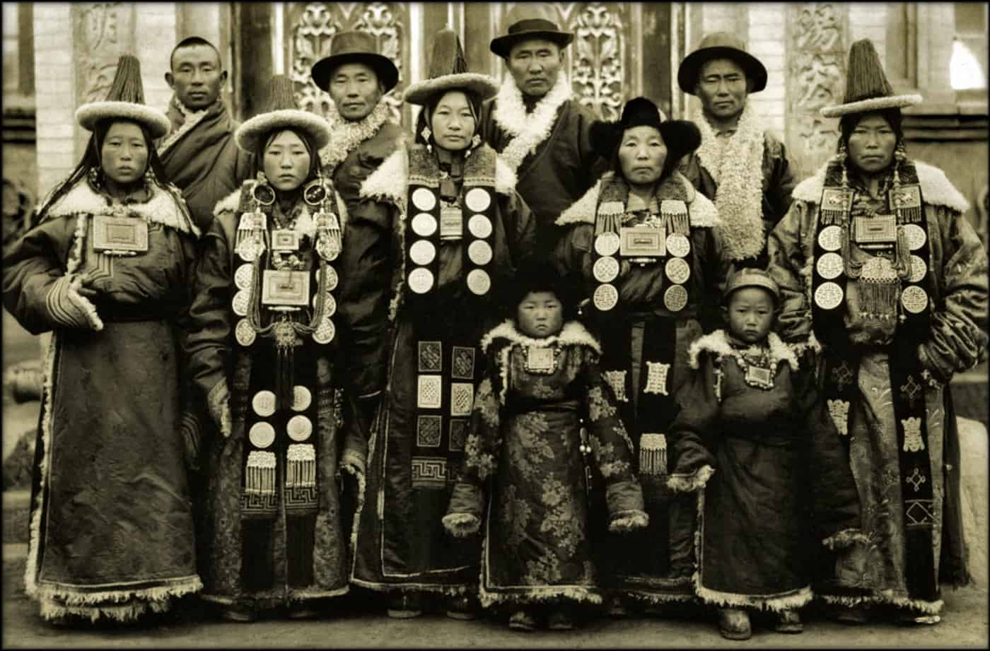 Family In Lanchow China 1944 Fr. Mark Tennien Restored