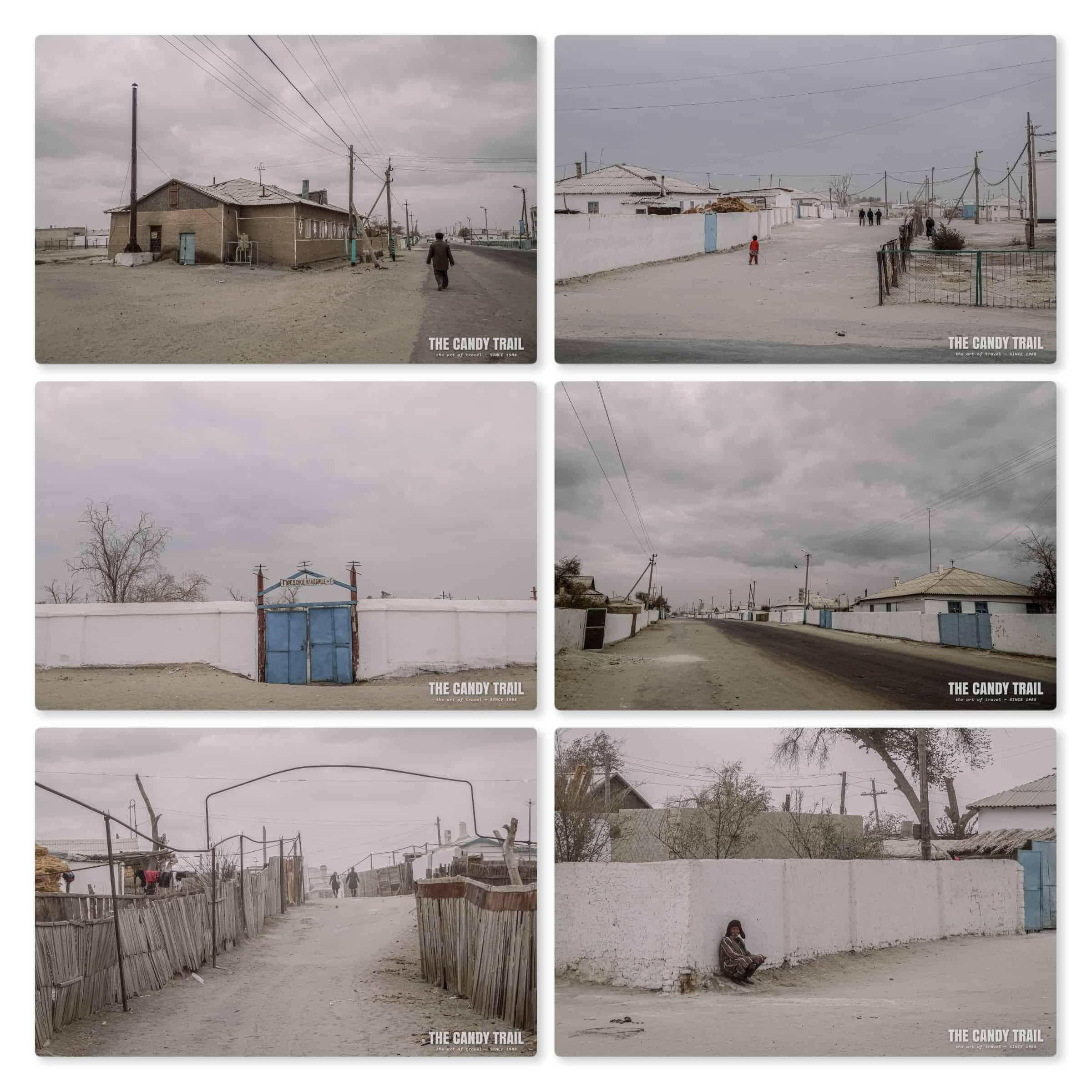 dusty streets of moynaq at aral sea in uzbekistan