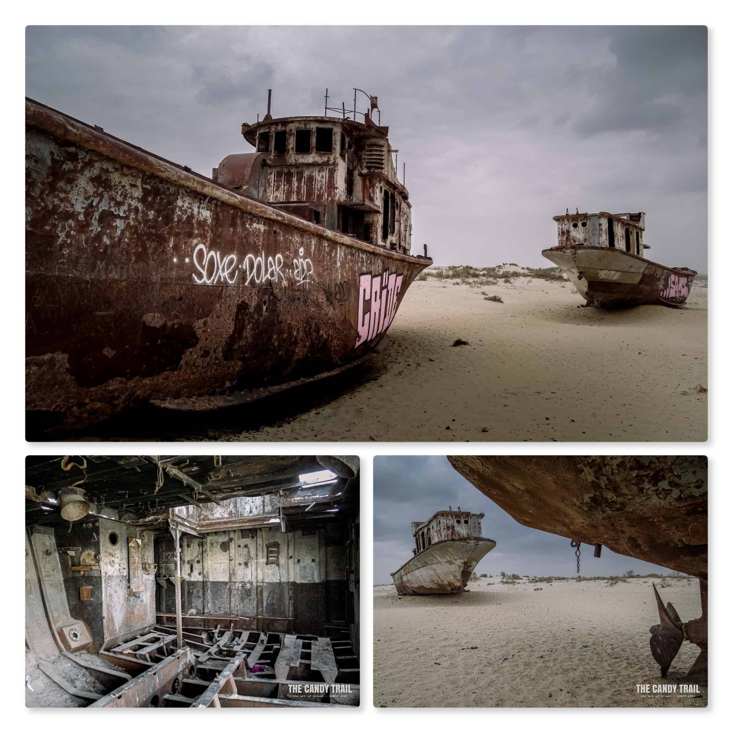 rusty ships aral sea images at moynaq in uzbekistan