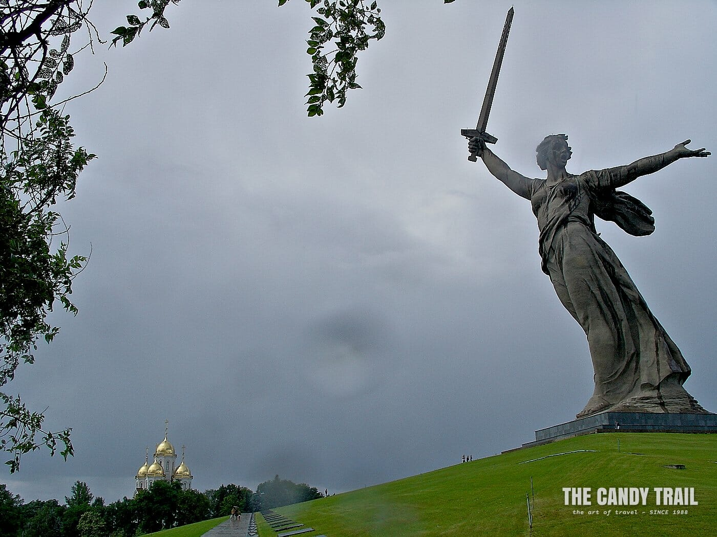 rain at stalingrad war memorial russia