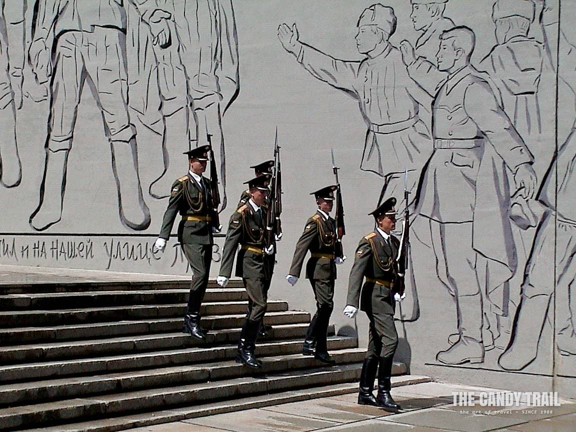 Russian soldiers marching to tomb for a changing of the guard at Stalingrad War memorial