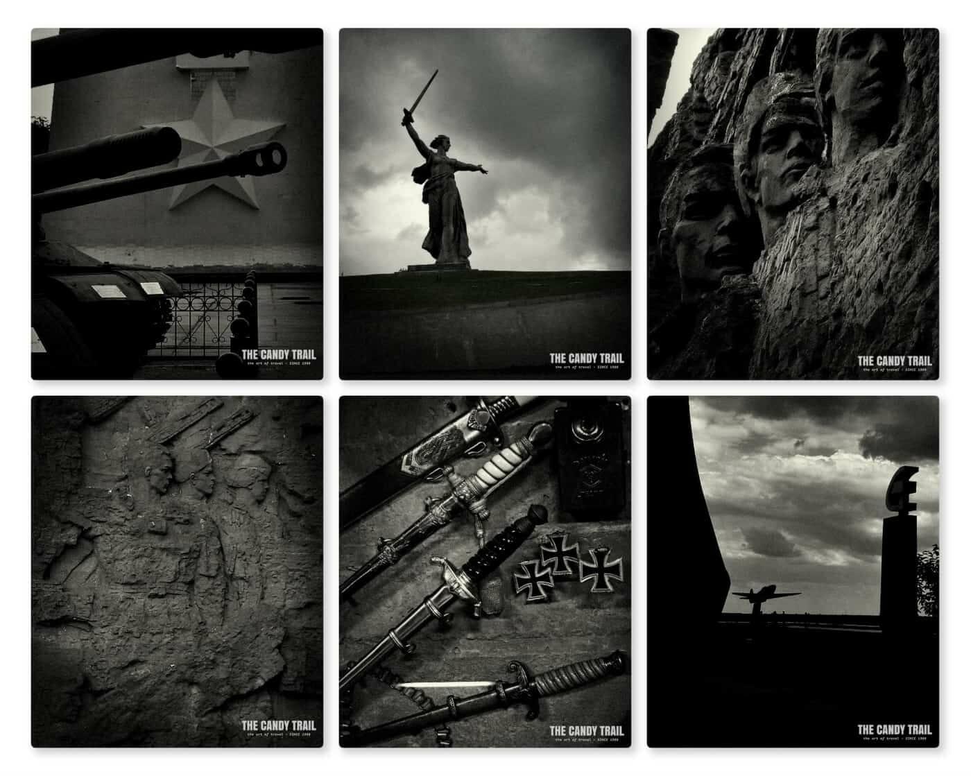 Various war memorials and reminders around Stalingrad battle site and museum
