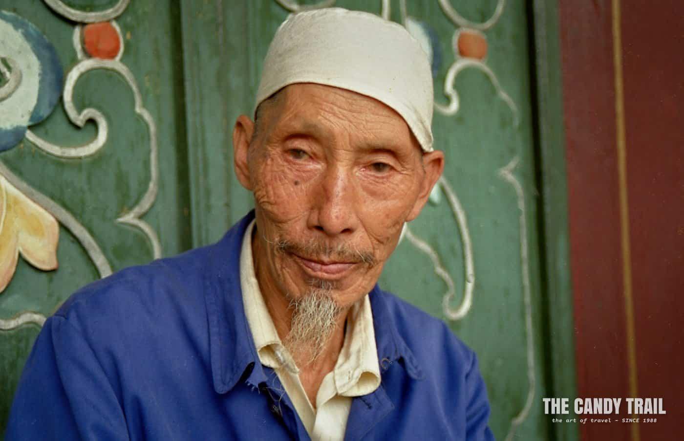 Chinese Hui Muslim man at mosque in Lanzhou