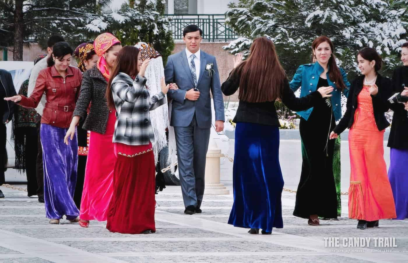 Turkmen wedding party at Independence Monument area