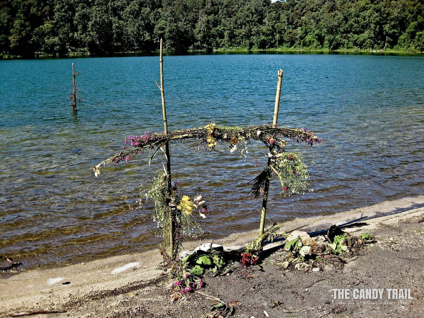 Maya shrine at sacred Lake Chicabal
