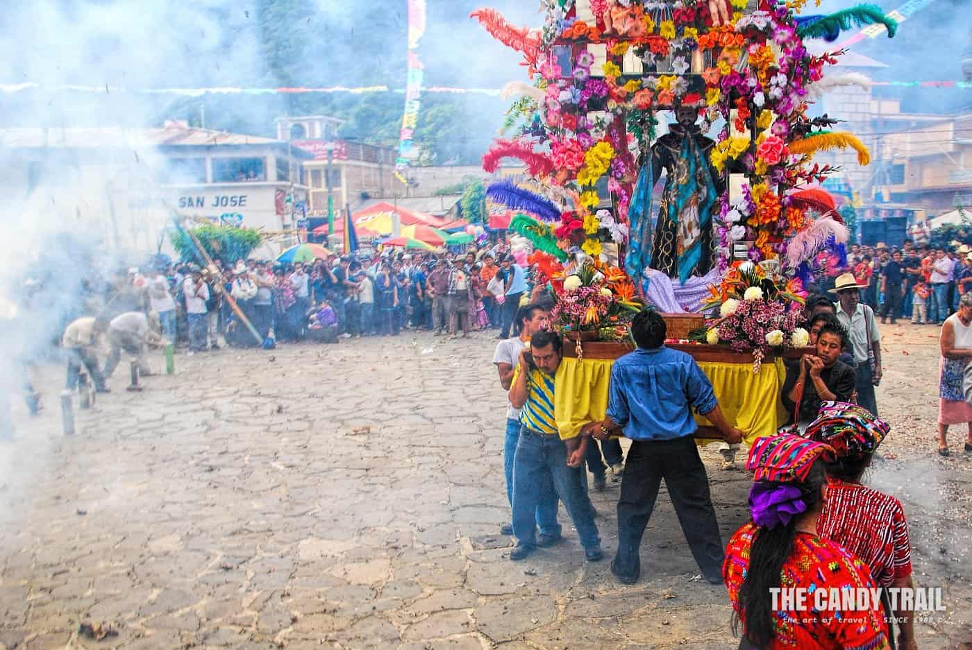 celebrations with statue of saint francis in maya festival in guatemala
