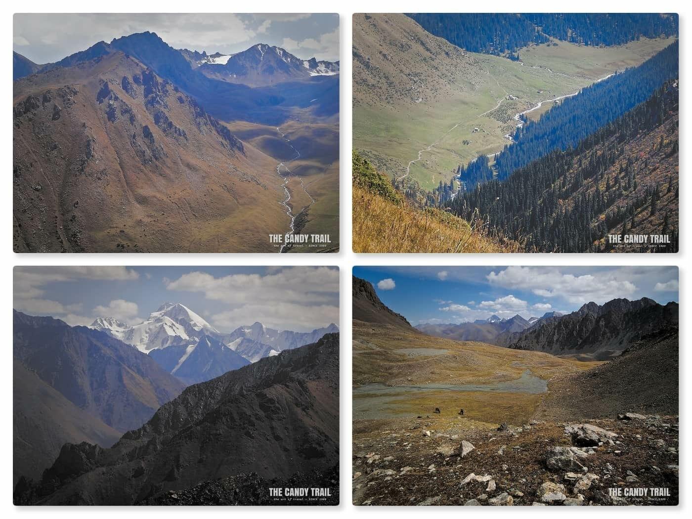 views of mountains on horse trek to ala kul lake