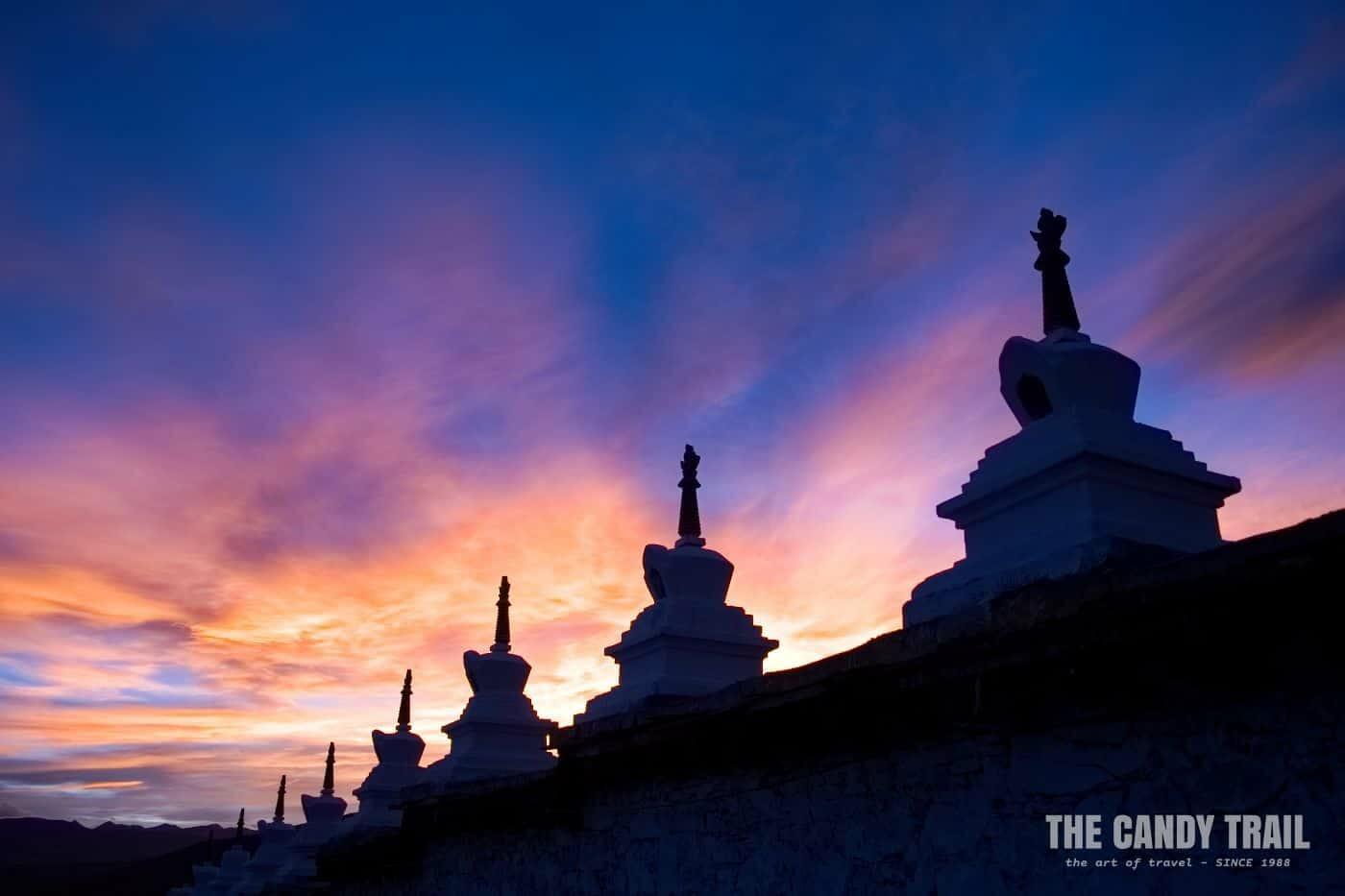 sunset litang stupas tibetan sichuan china