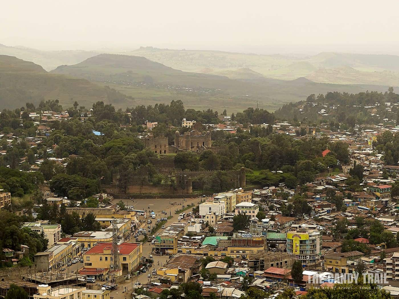 gondar ethiopia - castles and downtown city from  hill top view