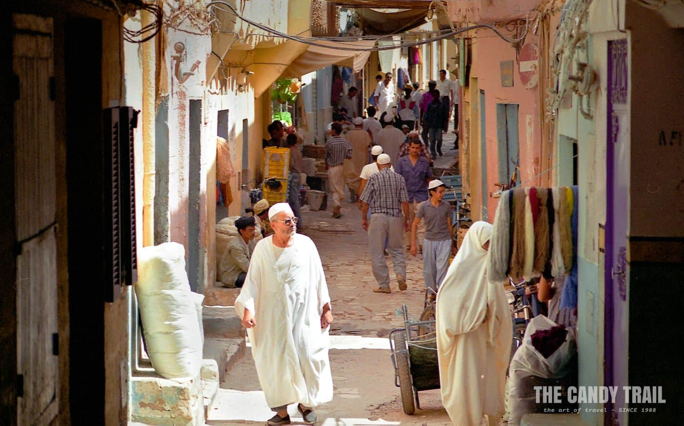 Bustling backstreet shopping area in Ghardaia in M'zab Valley's commercial town.